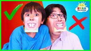 Ryan plays Who's Nose Guess Your Face Board Game for kids! - Video Youtube