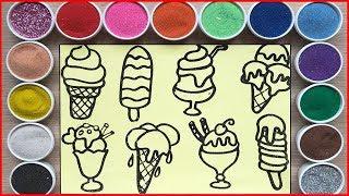 Đồ chơi trẻ em TÔ MÀU TRANH CÁT CÂY KEM NGON - Colored sand painting ice cream toys (Chim Xinh)