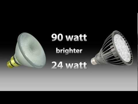 LED Par 38 24watt vs Halogen Par 38 90 watt shocking compariso