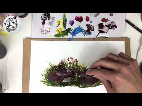 Como Pintar con Acrilicos Paso a Paso 2 Pinceles, Texturas y Ejercicios Practicos