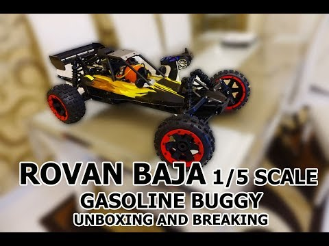 Rovan Baja 1/5 scale 29 cc Gasoline Buggy Unboxing & Engine Breaking