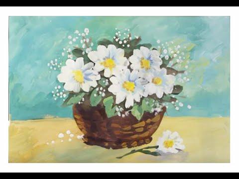 Как нарисовать цветы поэтапно. Букет цветов. Поэтапный рисунок гуашью для начинающих.