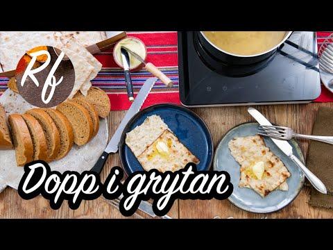 Dopp i grytan är en klassiker till julbordet. Tunnbröd eller vörtbröd doppas och kokas mjukt i salt skinkspad och serveras med en klick smör och/eller skinka.>