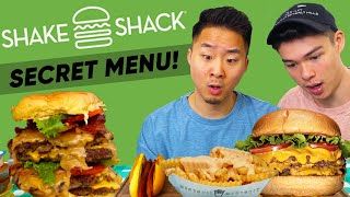 EATING EVERYTHING on SHAKE SHACK MENU + Secret Items?! | Fung Bros