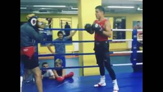 Uzbek boxer Shohjahon Ergashev training