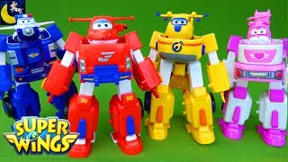 Gambar cover Super Wings Toys Transforming Jett Robo Rig Robot Suit Donnie Dozer Paul Police Car Dizzy Toys