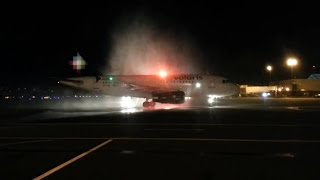 PDX water cannon salute for first Volaris arrival.