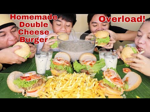Homemade Double Cheeseburger Overload, Cheesy French Fries & Coffee Jelly Pinoy Mukbang!