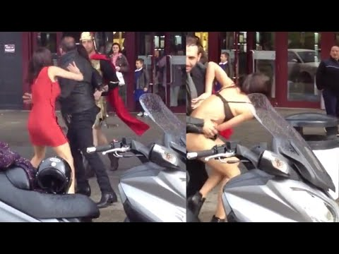 Girl bikini slip during fighting