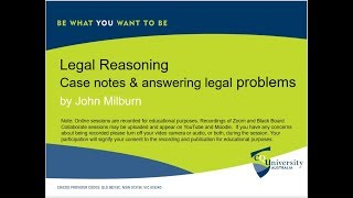 Legal Reasoning: Writing case notes & answering legal problems by John Milburn.