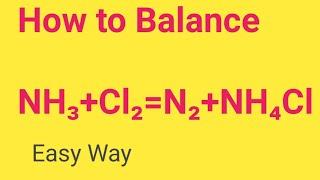 NH3+Cl2=N2+NH4Cl Balanced Equation   Ammonia + Chlorine=Nitrogen+Ammonium Chloride Balanced Equation