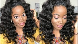 How To Achieve A HALF UP/ HALF DOWN Hairstyle Using KINKY Straight Clip Ins: HERGIVENHAIR