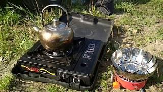 Портативная газовая плита с баллоном для рыбалки