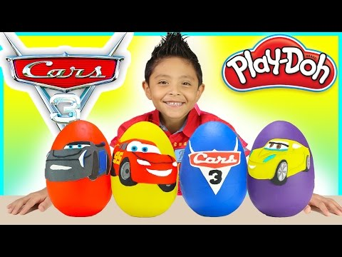 Cars 3 Movie Play Doh SURPRISE EGGS BIGGEST Disney Toy Lightning McQueen