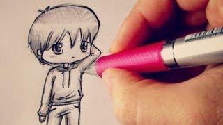 Смотреть онлайн Как поэтапно нарисовать аниме человека в стиле чиби
