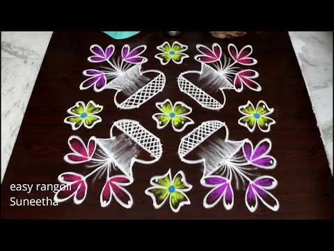 Download Beautiful Color Flower Pot Rangoli Designs Easy N Simple