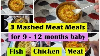 3 Fish/Chicken/Meat Meals for 9 - 12months baby | Fish Chicken Meat Meal for 9,10,11,12 months baby