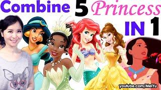 Combine 5 Disney Princess Into 1 | Ariel, Belle, Tiana, Jasmine, Pocahontas Art Challenge | Mei Yu