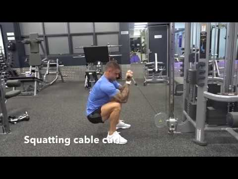 Squatting cable curl