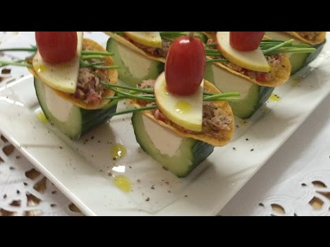 Fine Appetizers & Canapes Made From Cucumber and Tuna | How to Make Fine Canapes | By JustForFun