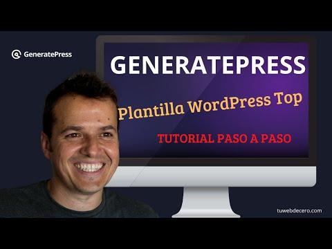 Tutorial GENERATEPRESS  La mejor plantilla WordPress actual