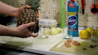 Смотреть онлайн Действие на мясо Колы и ананасового сока
