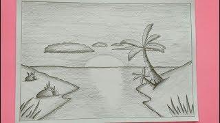 Lukisan Pensil Pemandangan Tepi Pantai Cikimm Com