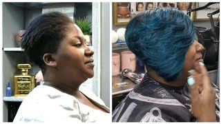 #033 HALF SHAVED BLUE HAIR QUICKWEAVE
