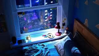 Heavy rain | Late Night Melancholy ~ Lofi hip hop music, lofi chill 1 hour loop