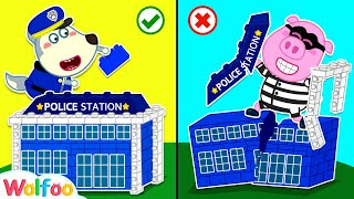 Policeman Baby Wolf Catch Super Robber Building Lego Police Station | Wolfoo Channel