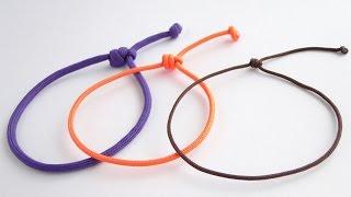 How To Make A Simple Single Strand  Friendship Sliding Knot Bracelet Paracord DIY 2017