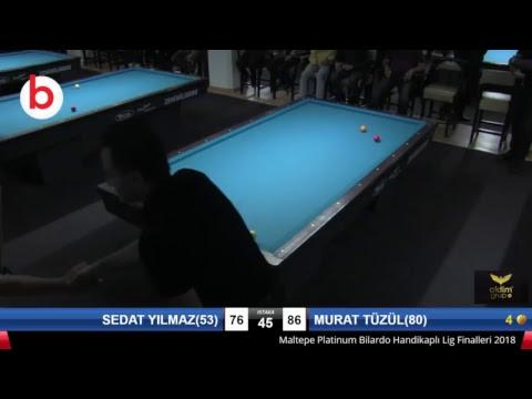 SEDAT YILMAZ(53) & MURAT TÜZÜL(80) Bilardo Maçı - PLATINUM HANDİKAPLI LİGİ - 2018-1. Tur