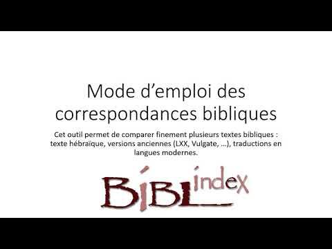 Tutoriel vidéo des correspondances bibliques