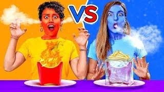 """تناول """"طعام ساخن"""" أو """"طعام بارد"""" فقط لـ 24 ساعة! آخر من يتوقف عن الأكل يربح! مقالب رهيبة"""