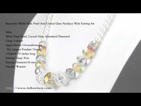 Romantic White Faux Pearl And Crystal Glass Necklace With Earring Set