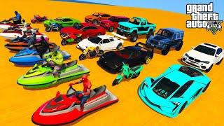 GTAV  Amazing Stunts & race track using Supercars, Bikes, SUVs with Superheroes [GTAV Mods]