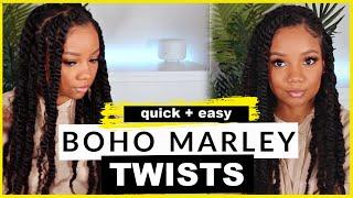 1.5 Hour PROTECTIVE Style | 😍JUMBO Boho MARLEY TWISTS On NATURAL 4C HAIR!