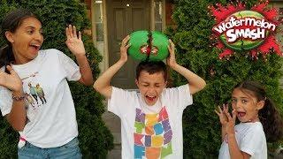 WATERMELON SMASH CHALLENGE! Family Fun Kids Video
