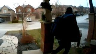 Gift thief caught on camera stealing poop-filled package