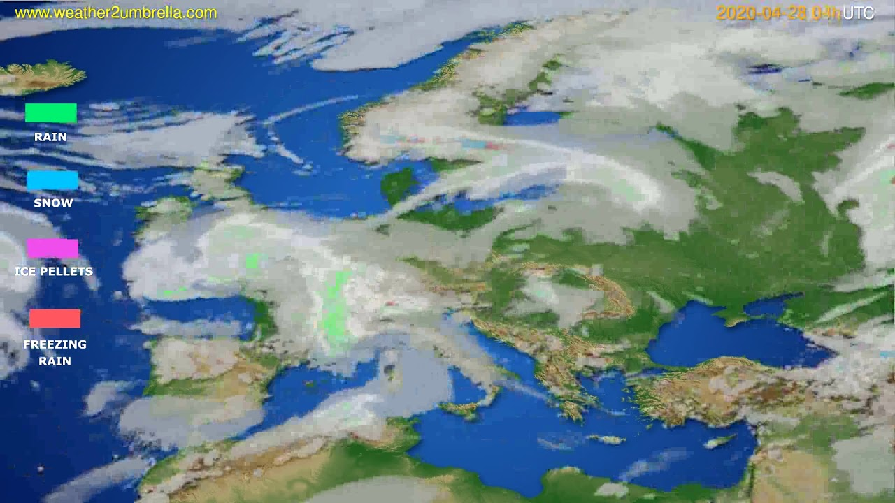 Precipitation forecast Europe // modelrun: 12h UTC 2020-04-27