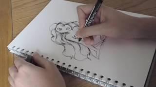 Watch Me Draw - Ariel Speed Drawing - The Little Mermaid - Disney Fan Art - Pen Sketch