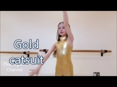 GOLD CATSUIT FOR DANCE KIDS FASHION. REVIEW