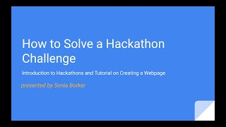 Introduction to Hackathons!