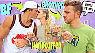 Handcuffed To My BOYFRIEND And His BROTHER For 24 Hours *AWKWARD*