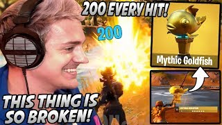 "Ninja Is SHOCKED After Seeing The RARE ""Mythic Goldfish"" That Does 200 DAMAGE In Fortnite!"