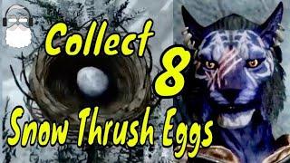 Inigo. Collect 8 Snow Thrush eggs for Langley. Elder Scrolls V: Skyrim