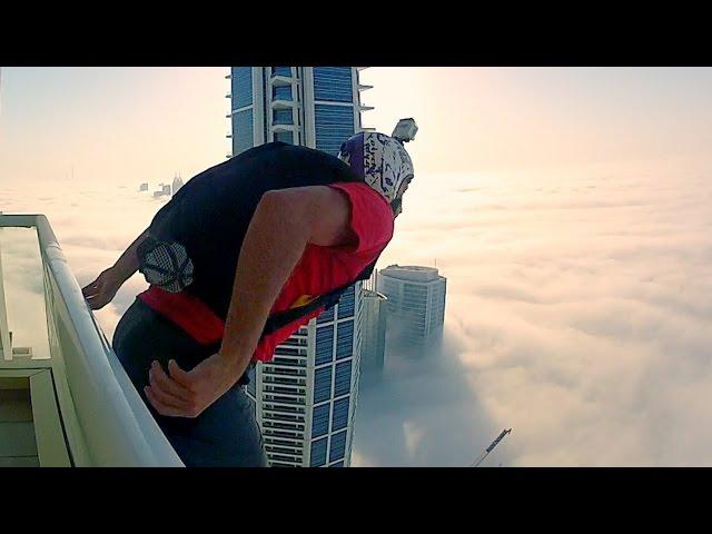 مغامر يصور قفزته من احد ابراج دبي