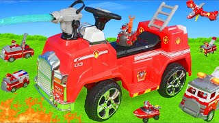 Paw Patrol Unboxing: Fire Truck Ride On Rescue w/ Fireman Marshall Pup & Ryder Toy Vehicles for Kids