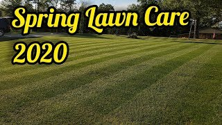 Best Yard in Town! Spring Lawn Care - power rake - mow - Fertilize - over seeded transition