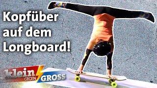 Wer fährt schneller auf den Händen mit dem Longboard? Weltrekordhalter vs. Joana   Klein gegen Groß